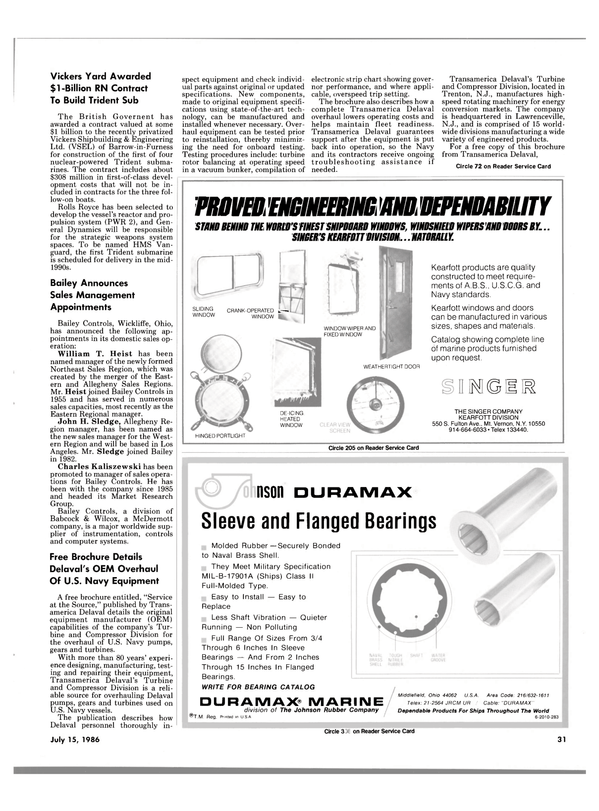 Maritime Reporter Magazine, page 31,  Jul 15, 1986