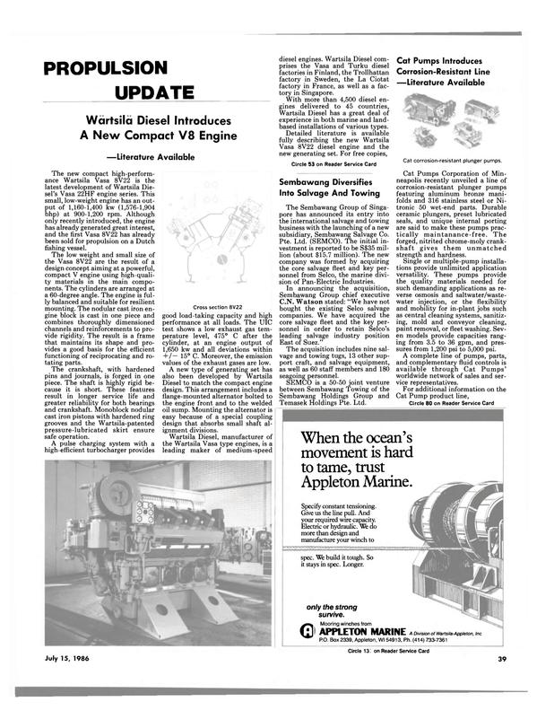 Maritime Reporter Magazine, page 39,  Jul 15, 1986