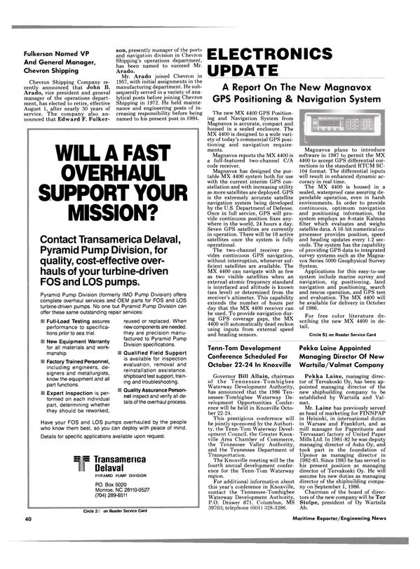 Maritime Reporter Magazine, page 40,  Jul 15, 1986