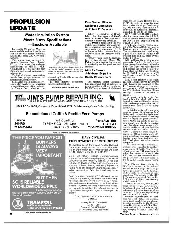 Maritime Reporter Magazine, page 42,  Jul 15, 1986