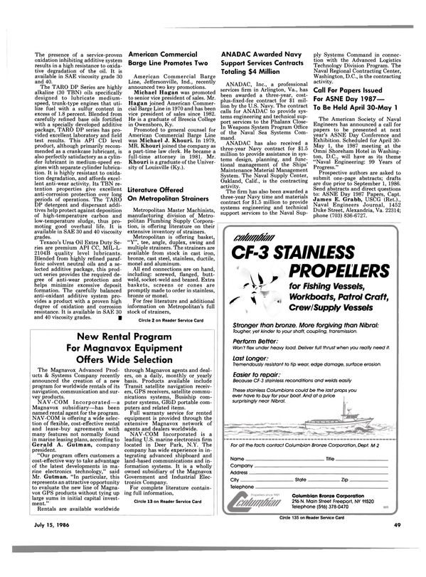 Maritime Reporter Magazine, page 49,  Jul 15, 1986