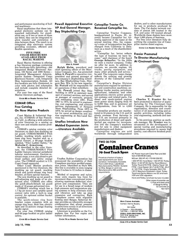 Maritime Reporter Magazine, page 53,  Jul 15, 1986