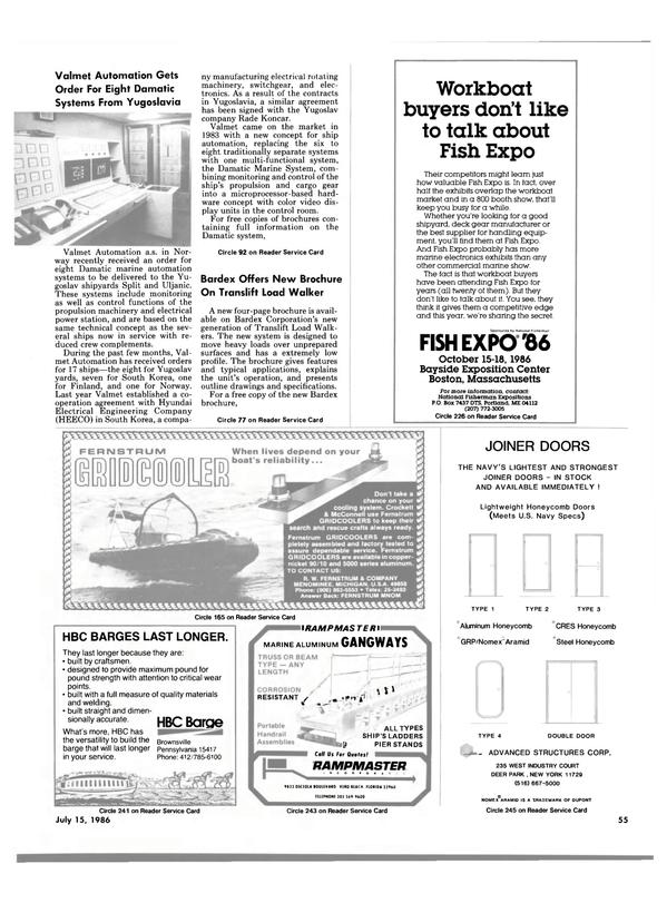 Maritime Reporter Magazine, page 55,  Jul 15, 1986