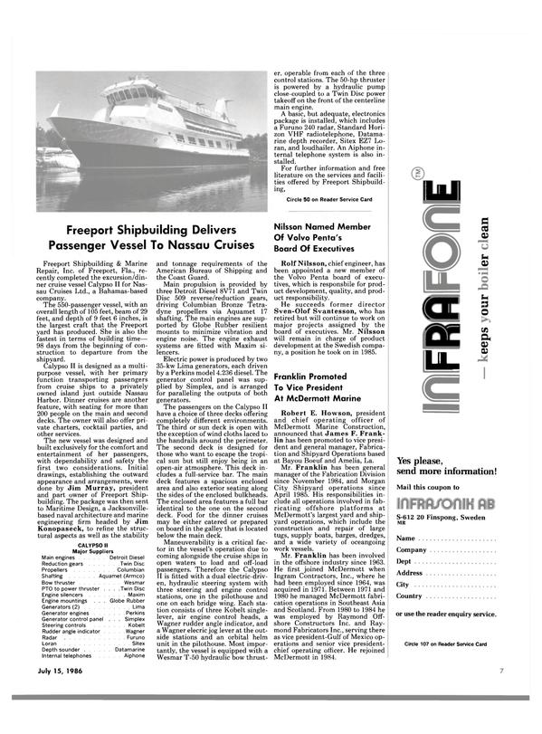 Maritime Reporter Magazine, page 5,  Jul 15, 1986