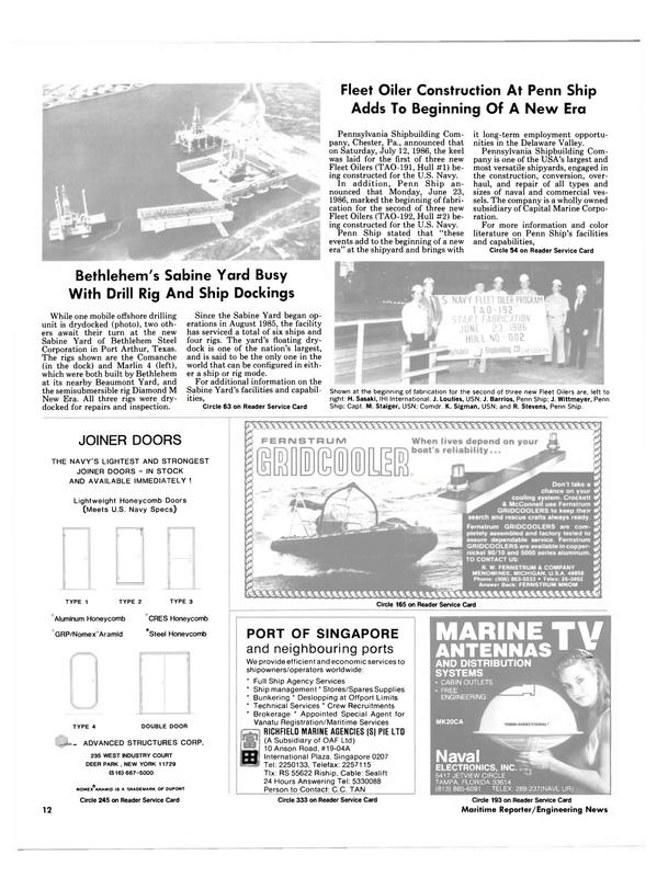 Maritime Reporter Magazine, page 10,  Aug 1986