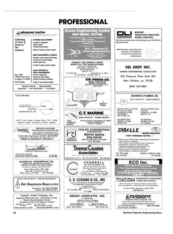 Maritime Reporter Magazine, page 48,  Oct 1986