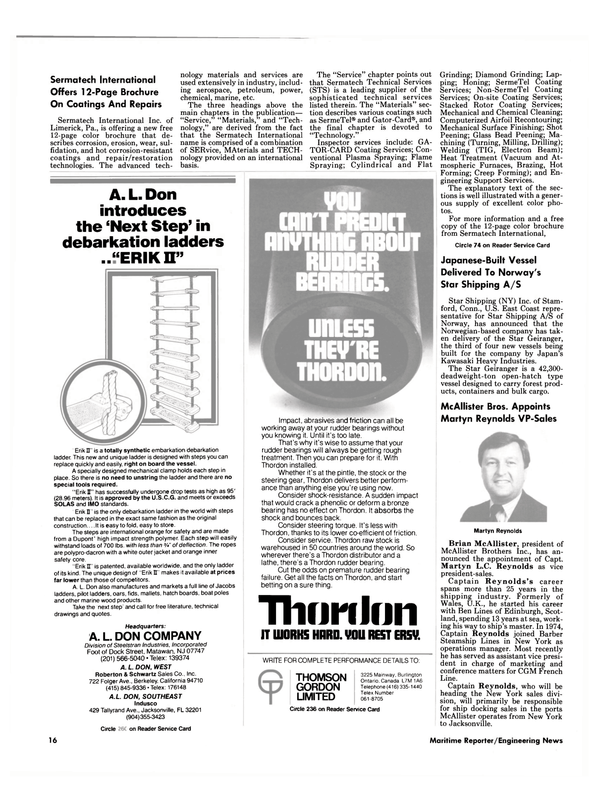 Maritime Reporter Magazine, page 14,  Nov 1986