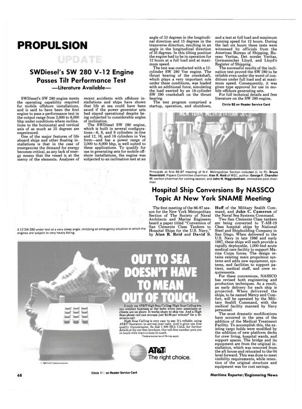 Maritime Reporter Magazine, page 64,  Nov 1986