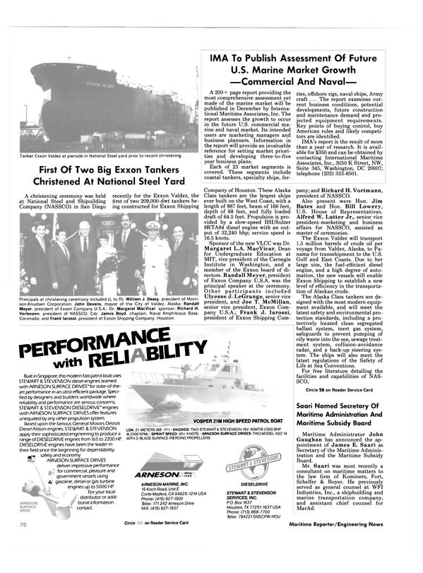 Maritime Reporter Magazine, page 66,  Nov 1986