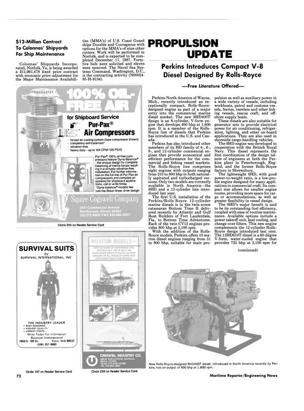 Maritime Reporter Magazine, page 68,  Nov 1986