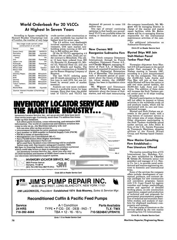 Maritime Reporter Magazine, page 74,  Nov 1986