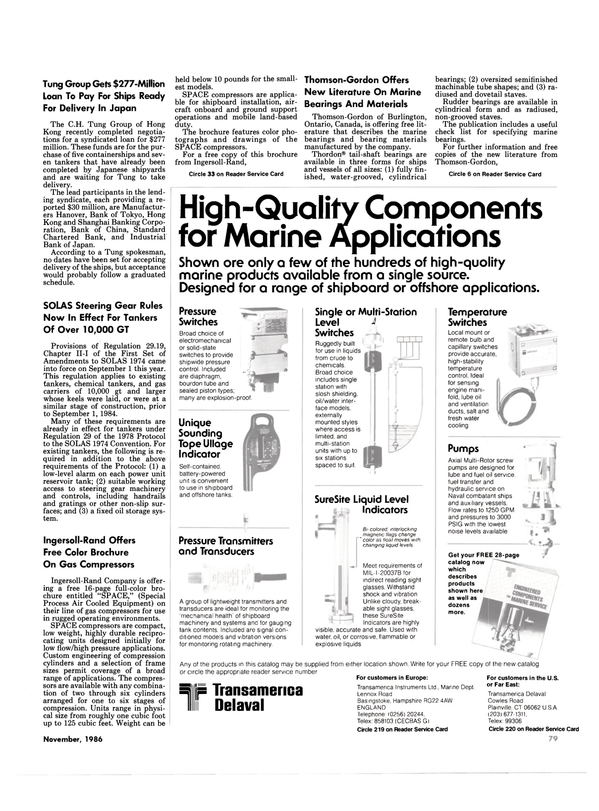 Maritime Reporter Magazine, page 75,  Nov 1986