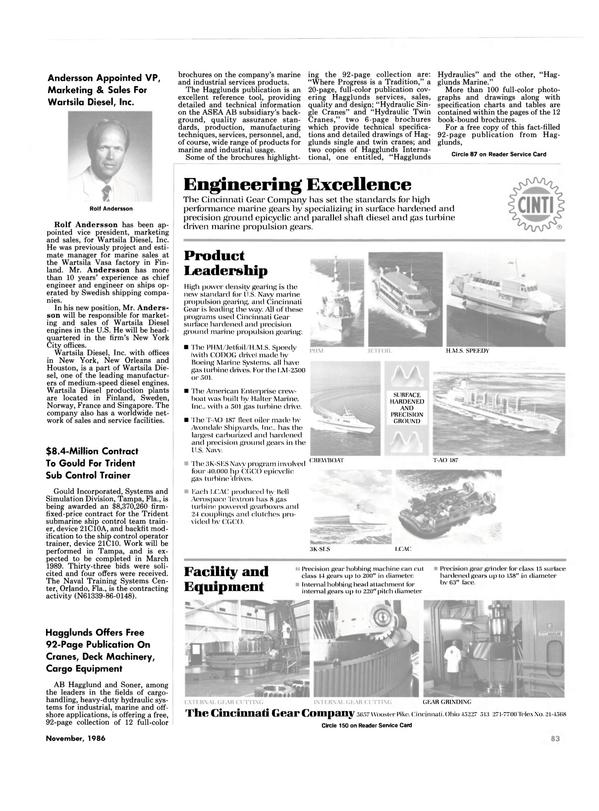 Maritime Reporter Magazine, page 79,  Nov 1986