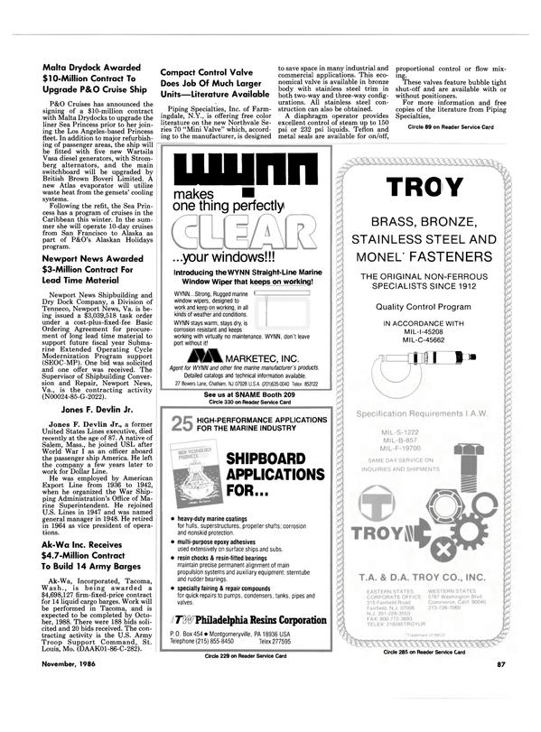 Maritime Reporter Magazine, page 83,  Nov 1986