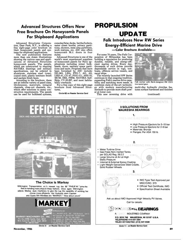 Maritime Reporter Magazine, page 85,  Nov 1986