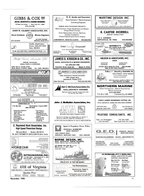 Maritime Reporter Magazine, page 91,  Nov 1986