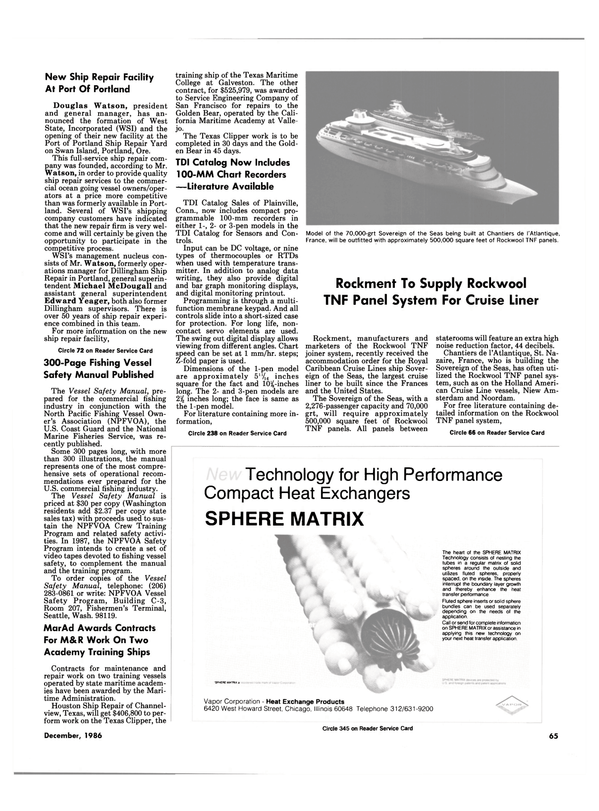 Maritime Reporter Magazine, page 63,  Dec 1986 Oregon