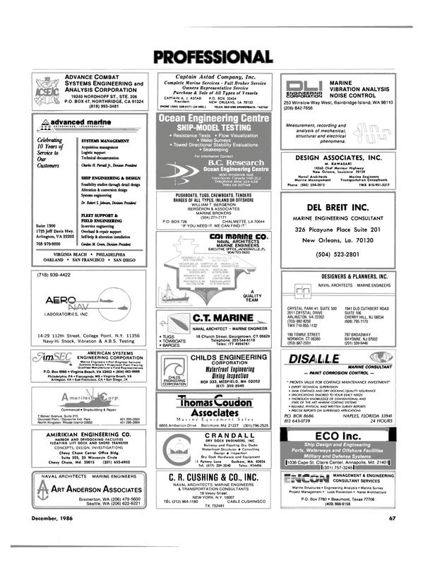 Maritime Reporter Magazine, page 65,  Dec 1986 Rhode Island