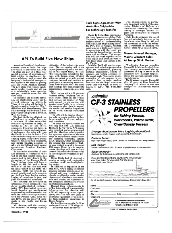 Maritime Reporter Magazine, page 5,  Dec 1986 New York