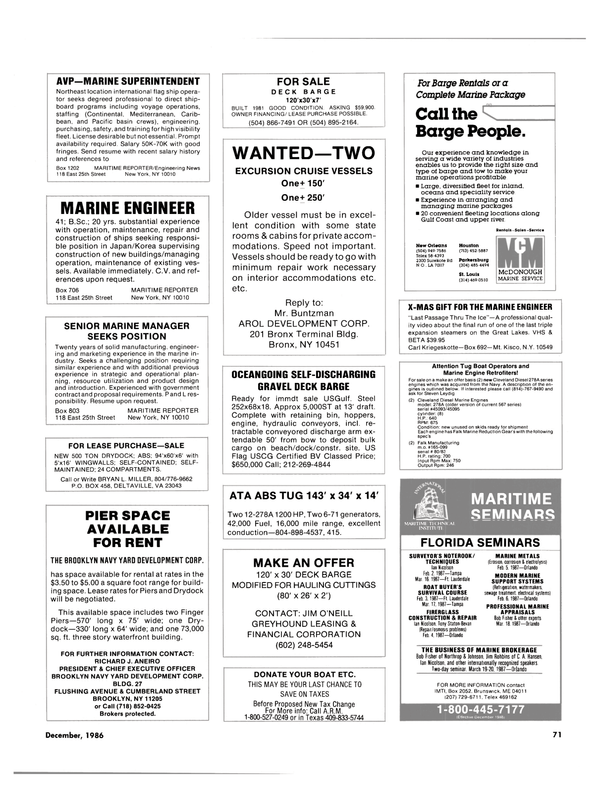 Maritime Reporter Magazine, page 69,  Dec 1986 Florida