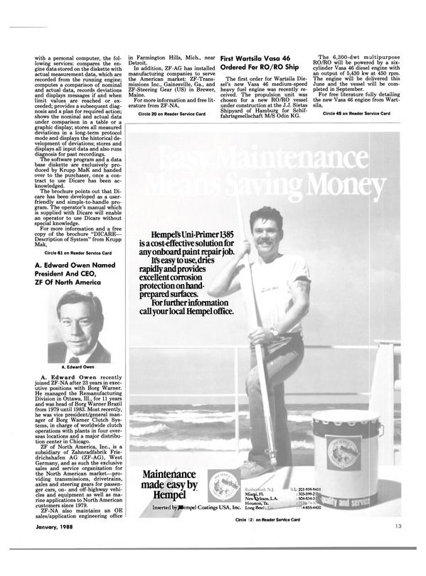 Maritime Reporter Magazine, page 11,  Jan 1988 Florida