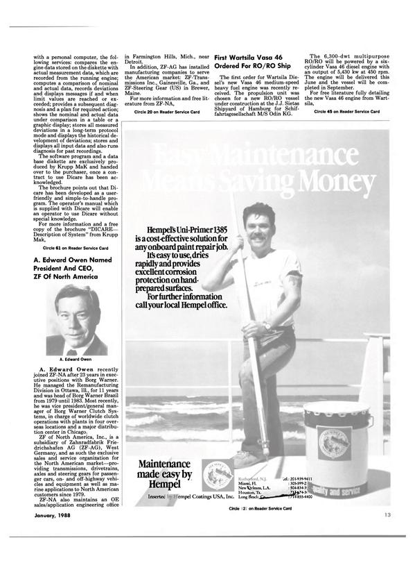 Maritime Reporter Magazine, page 13,  Jan 1988 Florida
