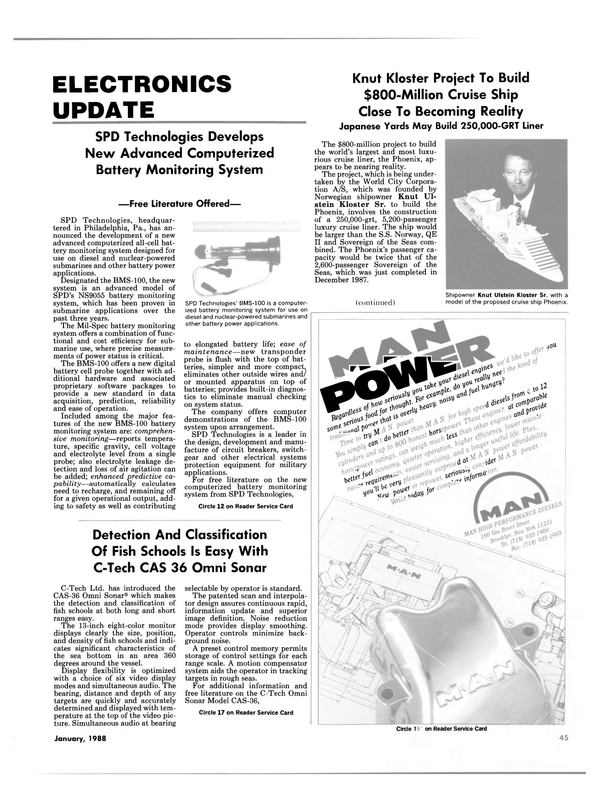 Maritime Reporter Magazine, page 45,  Jan 1988 NS9055 battery monitoring system