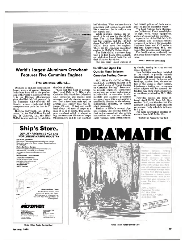 Maritime Reporter Magazine, page 57,  Jan 1988 California