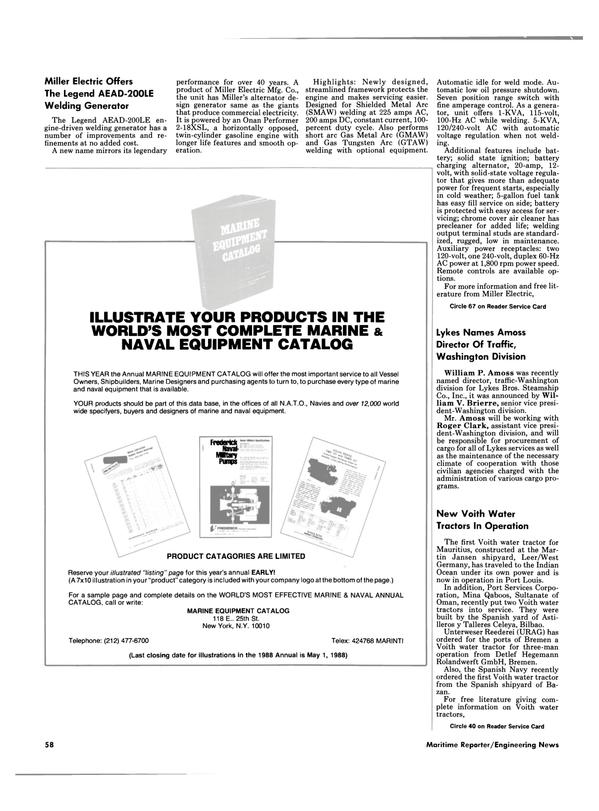 Maritime Reporter Magazine, page 58,  Jan 1988 Mina Qaboos