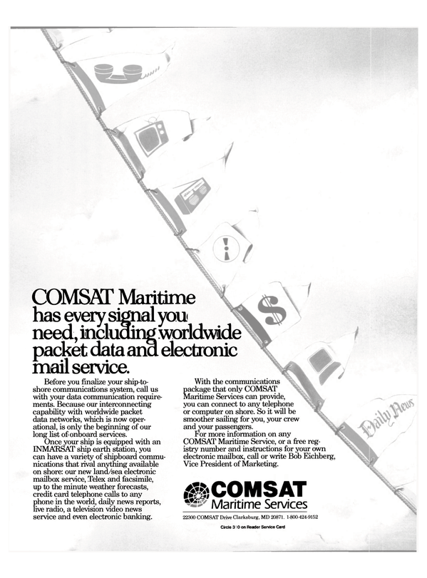 Maritime Reporter Magazine, page 7,  Jan 1988 COMSAT Maritime Service
