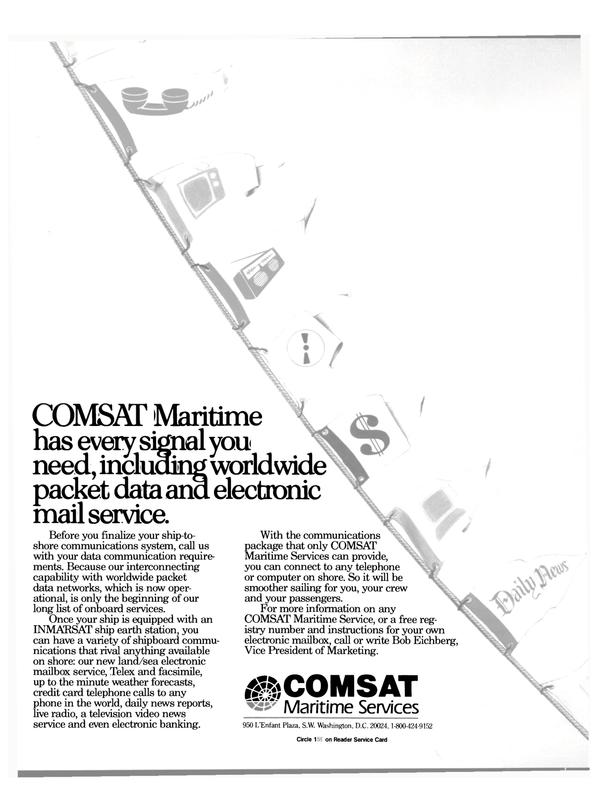 Maritime Reporter Magazine, page 24,  Mar 1988 COMSAT Maritime Service