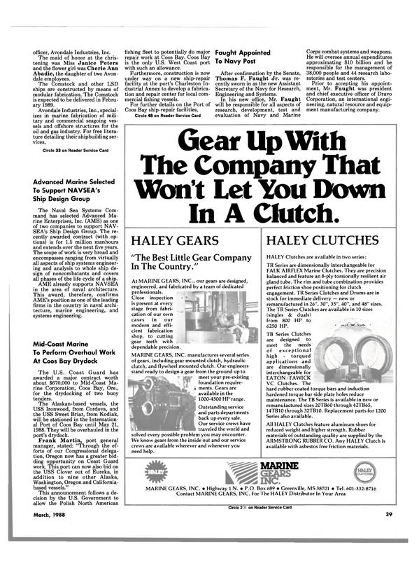 Maritime Reporter Magazine, page 37,  Mar 1988