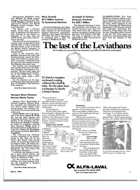 Maritime Reporter Magazine, page 39,  Mar 1988