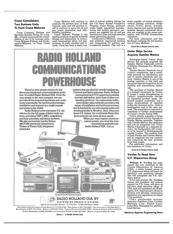 Maritime Reporter Magazine, page 4,  Mar 1988 P. Verdon