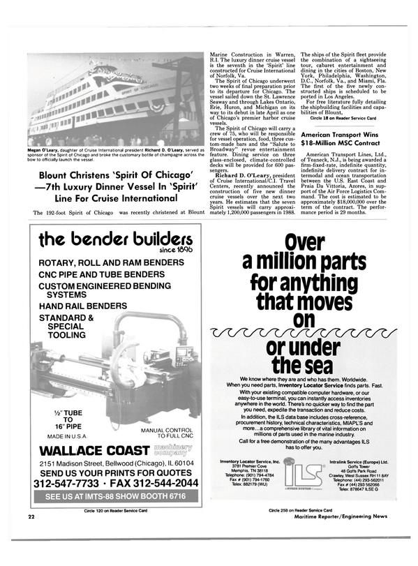 Maritime Reporter Magazine, page 20,  Jun 1988
