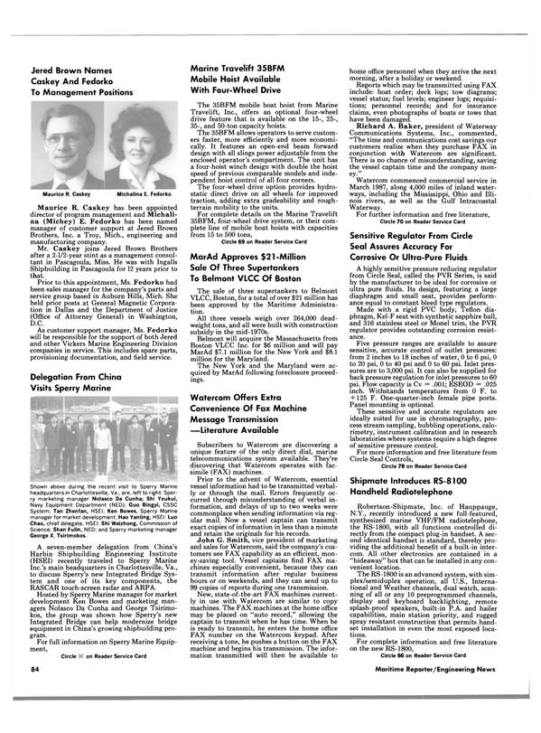 Maritime Reporter Magazine, page 78,  Jun 1988