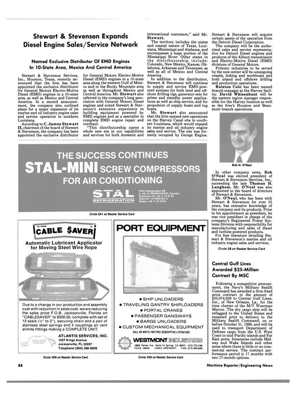 Maritime Reporter Magazine, page 82,  Jun 1988