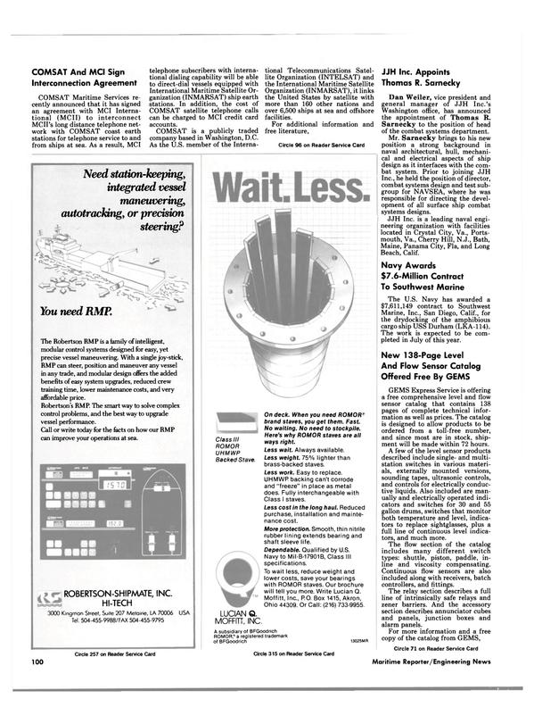 Maritime Reporter Magazine, page 94,  Jun 1988