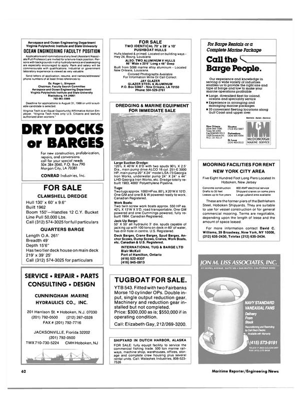 Maritime Reporter Magazine, page 50,  Jul 1988