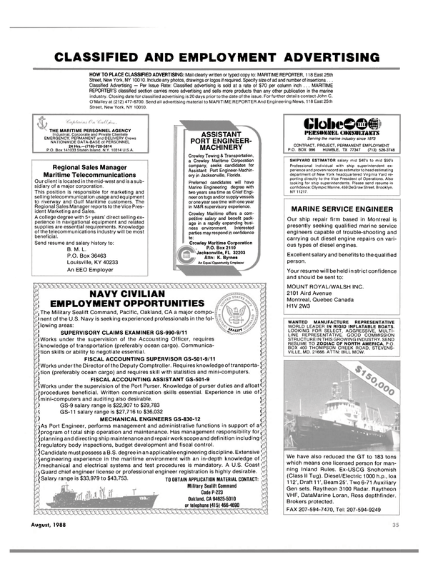 Maritime Reporter Magazine, page 33,  Aug 1988 Maryland