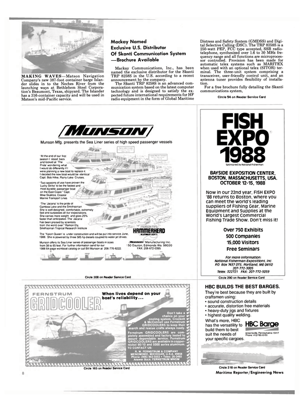 Maritime Reporter Magazine, page 6,  Aug 1988