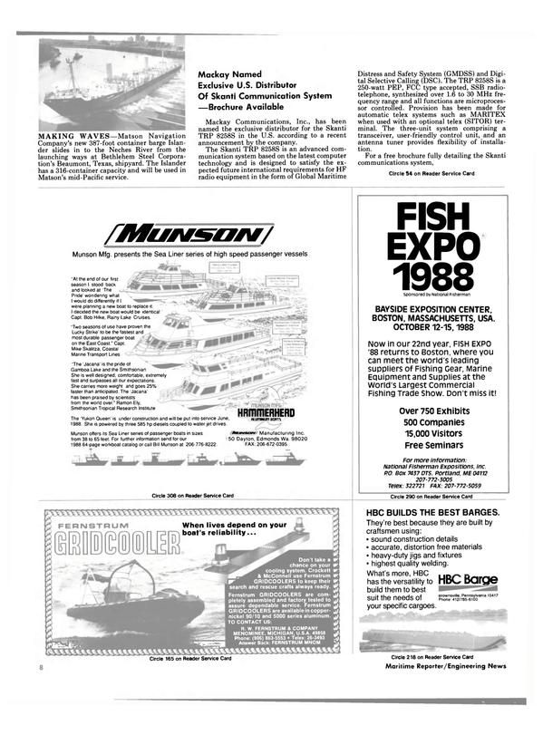 Maritime Reporter Magazine, page 6,  Aug 1988 Massachusetts