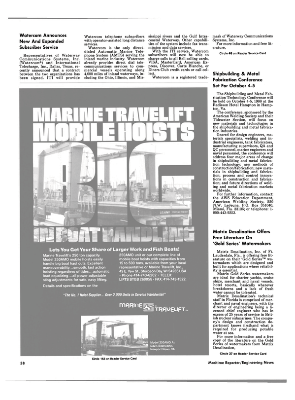 Maritime Reporter Magazine, page 52,  Sep 1988 Illinois