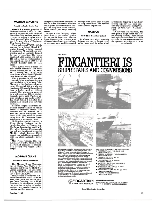 Maritime Reporter Magazine, page 44,  Oct 1988 California