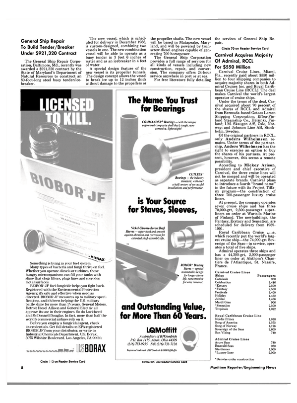 Maritime Reporter Magazine, page 6,  Oct 1988
