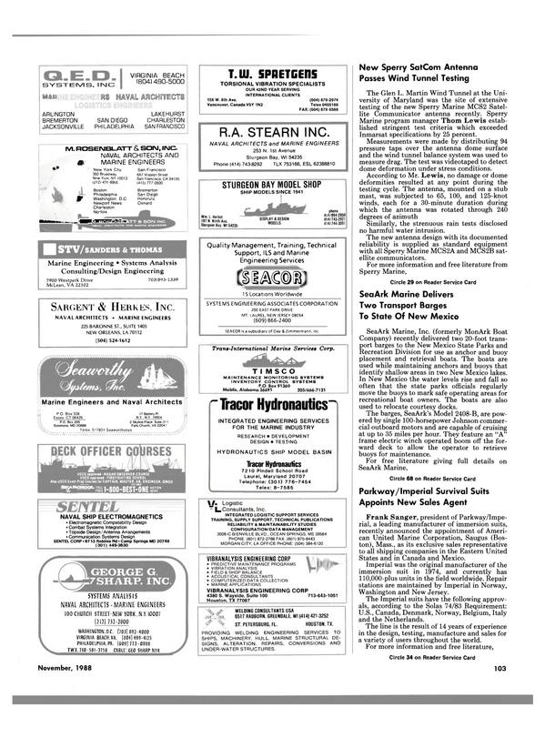 Maritime Reporter Magazine, page 99,  Nov 1988 Texas