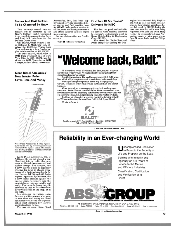 Maritime Reporter Magazine, page 75,  Nov 1988