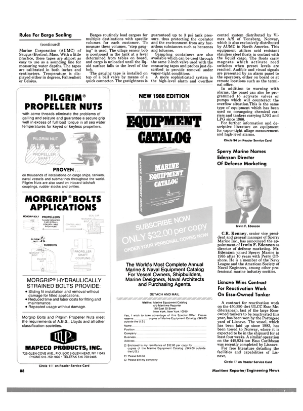 Maritime Reporter Magazine, page 86,  Nov 1988 Perry Off