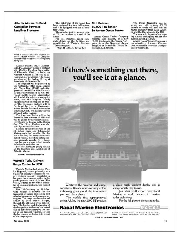 Maritime Reporter Magazine, page 11,  Jan 1989