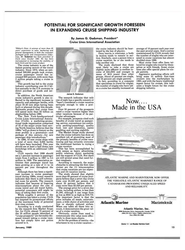 Maritime Reporter Magazine, page 13,  Jan 1989